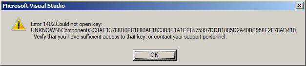 How to fix 'Error 1402  Could not open key: UNKNOWN   '