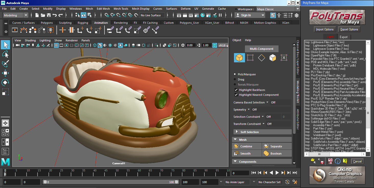 Okino's 3D Converters and Translators for Autodesk Maya (CAD