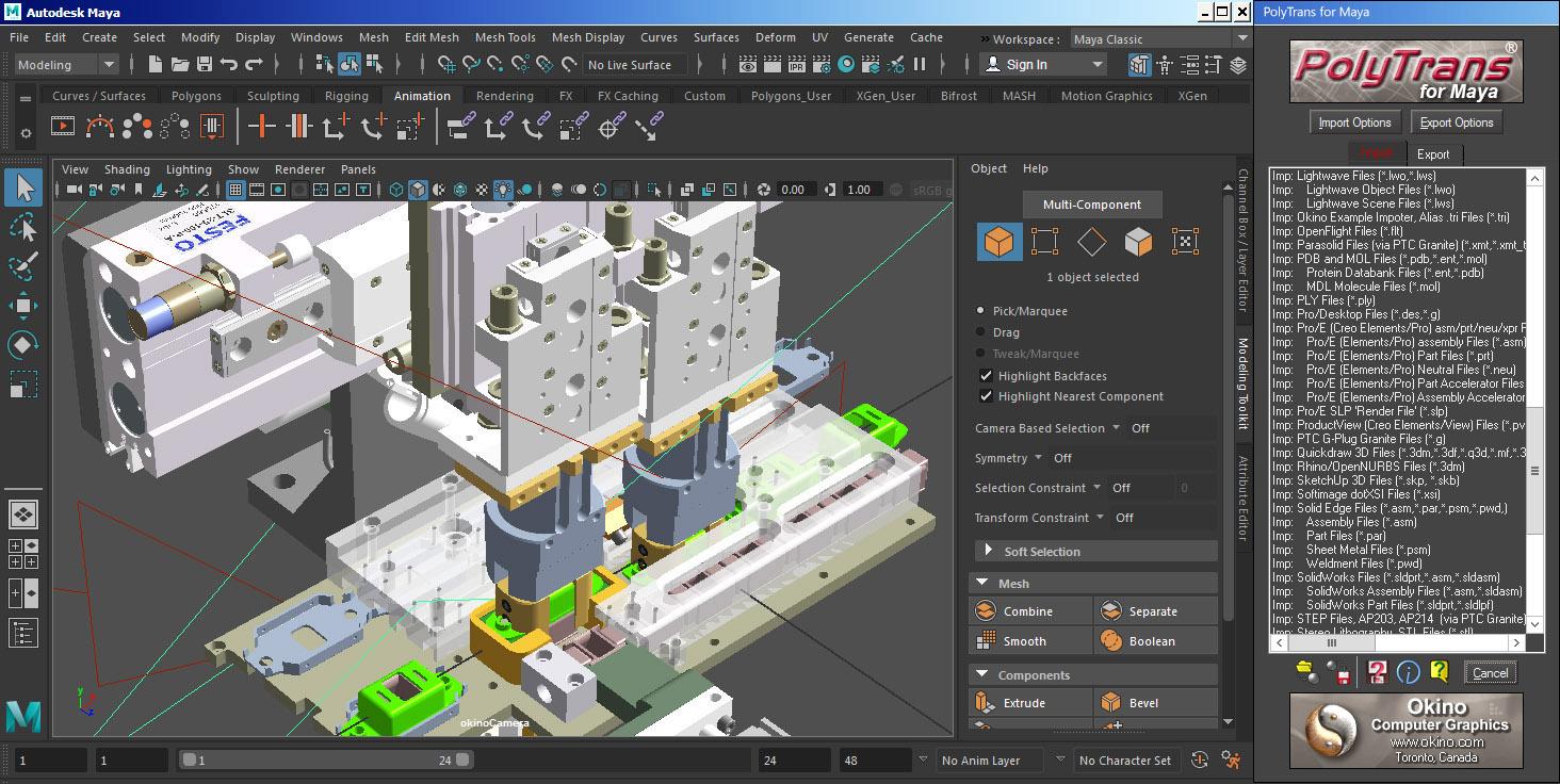 Okino's 3D Converters and Translators for Autodesk Maya (CAD